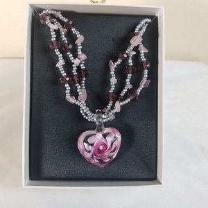 Mixit flower heart beaded necklace pink